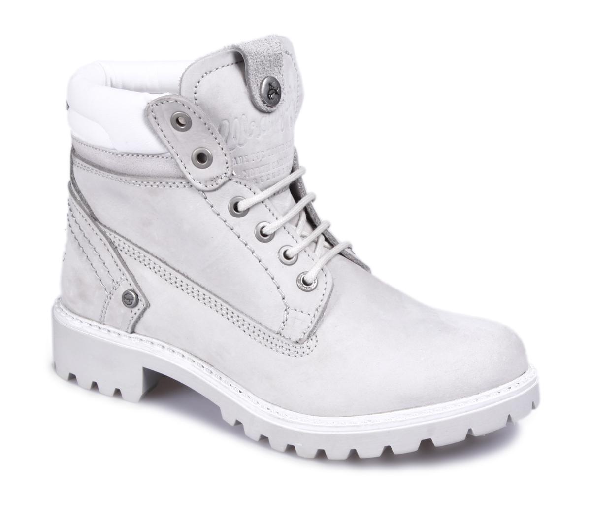 Ботинки женские Wrangler Creek Fur, цвет: светло-серый, белый. WL152501F-91. Размер 36WL152501F-91Стильные женские ботинки Creek Fur от Wrangler выполнены из натурального нубука. Подкладка и стелька из искусственного меха не дадут ногам замерзнуть. Шнуровка надежно зафиксирует модель на ноге. Подошва дополнена рифлением.