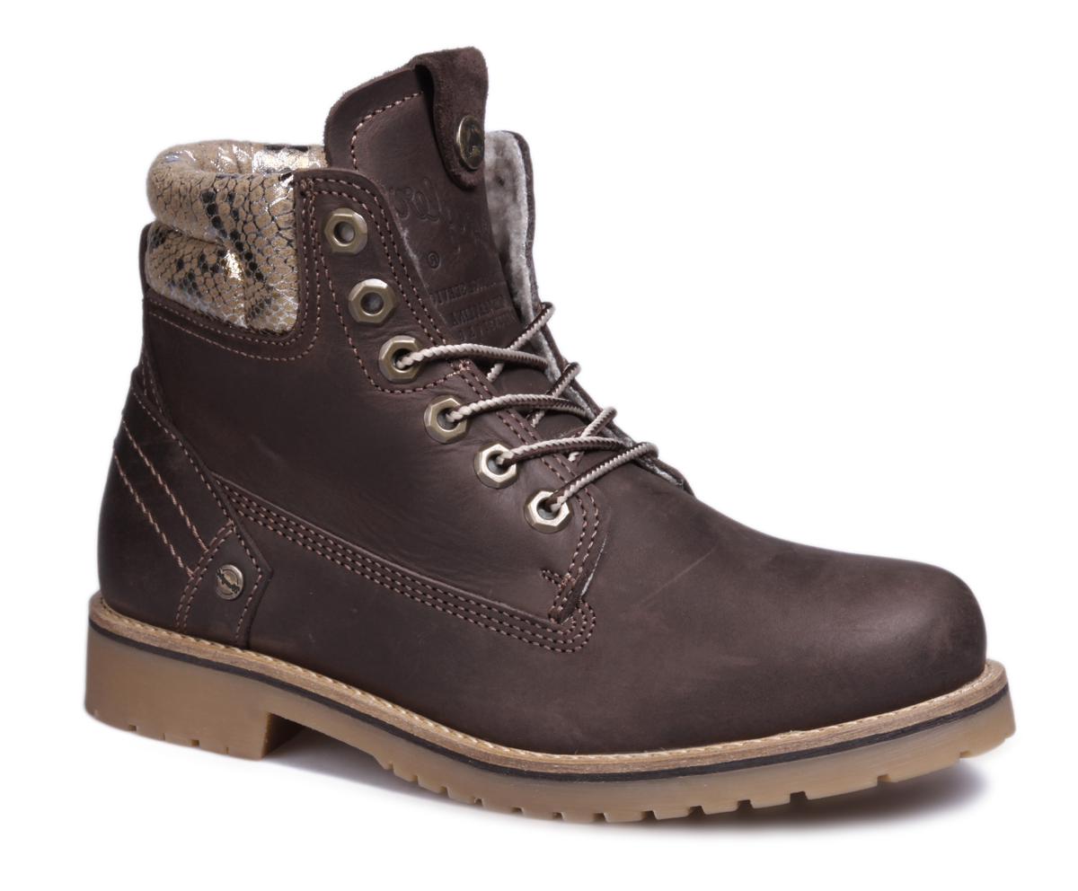 Ботинки женские Wrangler Creek Rio, цвет: темно-коричневый. WL162701M-30. Размер 36WL162701M-30Стильные женские ботинки Creek Rio от Wrangler выполнены из натуральной кожи. Подкладка и стелька из искусственного меха не дадут ногам замерзнуть. Шнуровка надежно зафиксирует модель на ноге. Подошва дополнена рифлением.