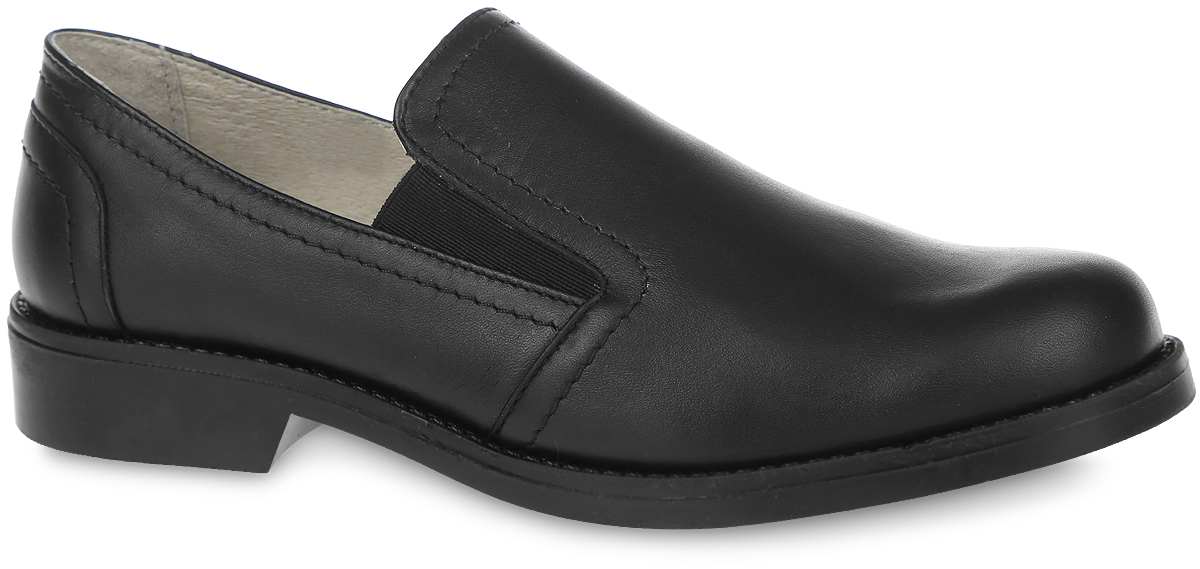 Туфли для мальчика Зебра, цвет: черный. 10785-1. Размер 4010785-1Замечательные туфли для мальчика от фирмы Зебра, оформленные прострочкой, выполнены из натуральной кожи. Модель с полукруглым мыском и эластичными вставками, на тонкой подошве с небольшим каблуком, будет уместно смотреться с брюками или классическими джинсами, идеальный вариант для школы. Подкладка выполнена из натуральной кожи комфортна при движении. Подошва выполнена из гибкого, не скользящего материала и обеспечивает надежное сцепление с поверхностью. Стелька с супинатором, выполненная из натуральной кожи, обеспечивает правильное положение ноги ребенка при ходьбе, предотвращает плоскостопие.В такой обуви ножкам вашего маленького мужчины всегда будет комфортно и уютно.
