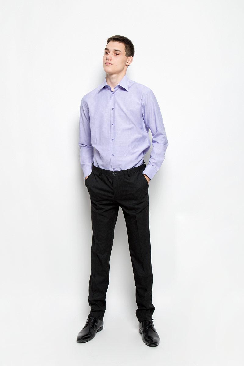 Рубашка мужская BTC, цвет: светло-сиреневый. 12.014853. Размер 46-17612.014853Мужская рубашка BTC изготовлена из натурального хлопка. Ткань изделия мягкая, тактильно приятная, не сковывает движения и позволяет коже дышать.Рубашка с отложным воротником и длинными рукавами застегивается спереди на пуговицы по всей длине. На манжетах предусмотрены застежки-пуговицы. Модель имеет слегка приталенный силуэт. Рубашка будет дарить вам комфорт в течение всего дня и станет отличным дополнением к вашему гардеробу!