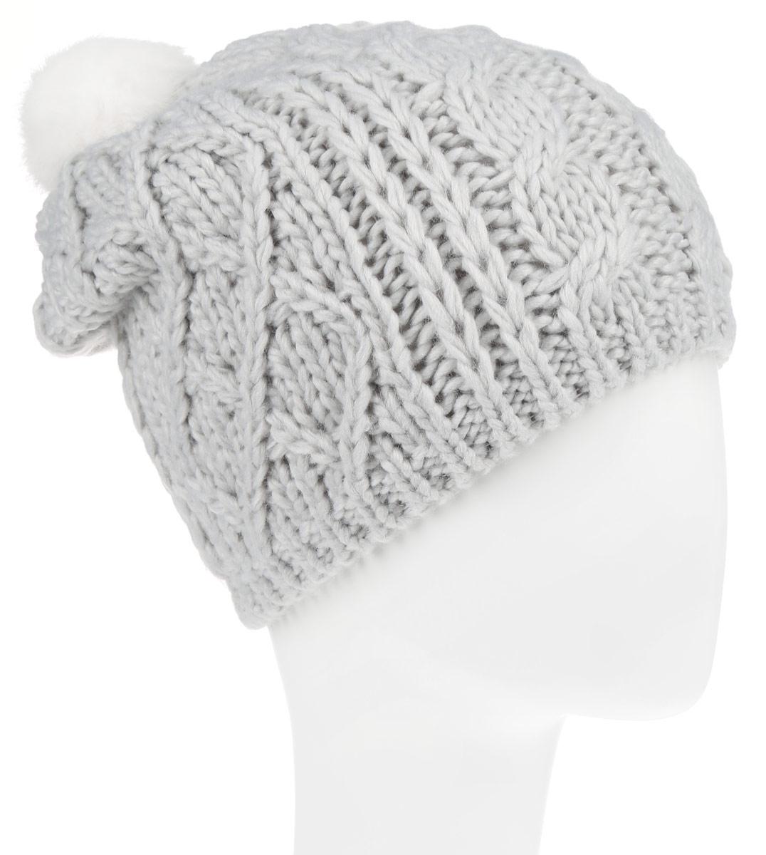 Шапка для девочки Sela, цвет: светло-серый. HAk-641/016-6303. Размер 54/56HAk-641/016-6303Вязаная шапка Sela для девочек станет идеальным дополнением к вашему образу в холодную погоду. Изделие приятное на ощупь, максимально сохраняет тепло. Благодаря эластичной вязке, модель идеально прилегает к голове.Оформлено изделие крупным вязаным узором и дополнено не большим меховым пушистым помпоном. Край шапки связан резинкой. Внутри - флисовая подкладка.Такой стильный и теплый аксессуар подчеркнет вашу индивидуальность. Шапка надежно защитит от холода и создаст ощущение комфорта.