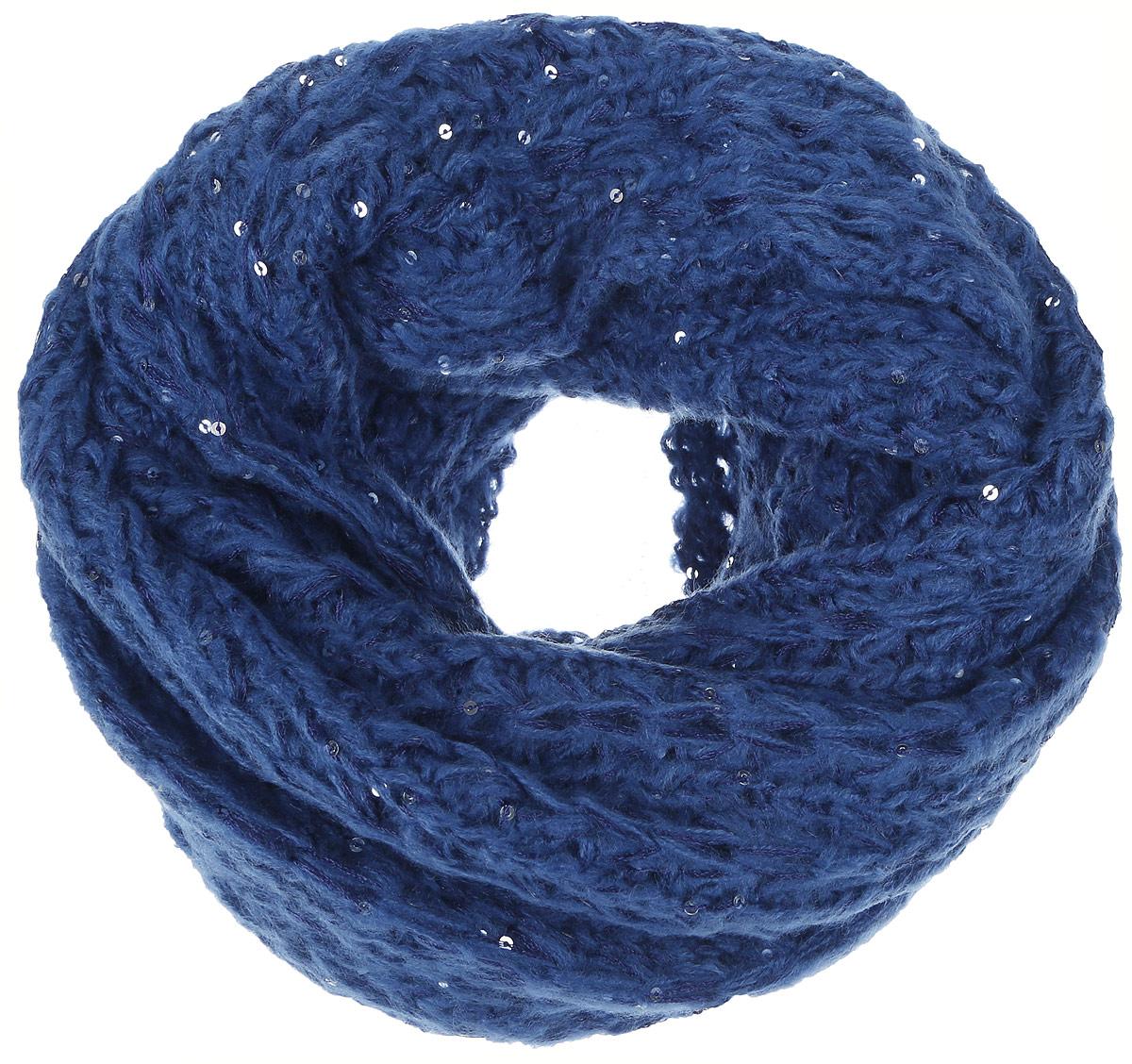 Снуд-хомут женский Sela, цвет: синий. SC-142/445-6302. Размер 100 см х 50 смSC-142/445-6302Стильный снуд-хомут Sela, выполненный из акрила и полиэстера, создан подчеркнуть ваш неординарный вкус и согреть вас в прохладное время года.Снуд-хомут можно носить на голове, на шее и груди. Высокое качество материала максимально сохраняет тепло и обеспечивает удобную посадку. Модель отличается невероятной легкостью и мягкостью. Снуд-хомут украшен пайетками.Этот модный аксессуар гармонично дополнит образ современной женщины, которая стремится всегда оставаться стильной и элегантной.