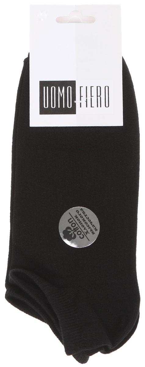 Носки мужские Uomo Fiero, цвет: черный гранит. MS062. Размер 39/41MS062Мужские укороченные носки Uomo Fiero изготовлены из высококачественного хлопкового волокна, которое обеспечивает великолепную посадку. Носкиимеют укороченный паголенок и отличаются элегантным внешним видом. Удобная небольшая резинка идеально облегает ногу и не пережимает сосуды, усиленные пятка и мысок повышают износоустойчивость носка. Удобные и комфортные носки великолепно подойдут к любой вашей обуви.