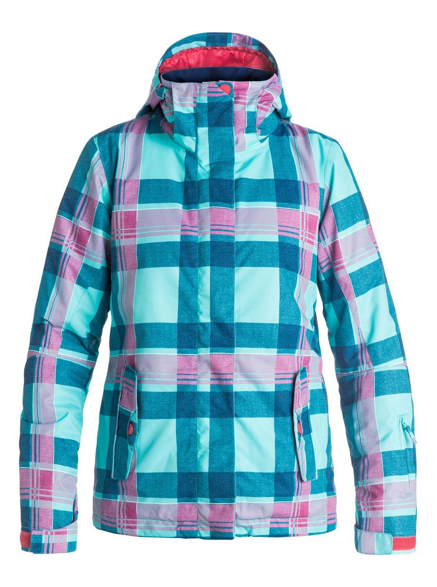 Куртка для сноуборда женская Roxy Jetty, цвет: голубой, розовый. ERJTJ03055-BGM6. Размер M (44/46)ERJTJ03055-BGM6Женская куртка для сноуборда выполнена из полиэстера с утеплителем Warmflight (тело 120 г, рукава 100 г, капюшон 60 г). Подкладка из тафты со вставками из трикотажа с начесом. Критические швы проклеены. Съемный капюшон регулируется тремя способами. Фиксированная противоснежная юбка из тафты с удобными кнопками.Система пристегивания куртки к штанам. Подкладка в районе подбородка.Куртка дополнена нагрудным карманом, внутренним медиакарманом, внутренним карманом для маски, брелоком для ключей.Лайкровые гейтеры в рукавах. Кармашек для скипасса на рукаве. Сеточная вентиляция подмышками.Карманы с теплой подкладкой.