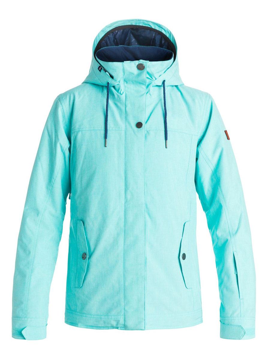 Куртка женская Roxy Billie, цвет: голубой. ERJTJ03060-BGM0. Размер XS (40;42)ERJTJ03060-BGM0Женская куртка выполнена из полиэстера с утеплителем Warmflight (тело 120 г, рукава 100 г, капюшон 60 г). Подкладка из тафты со вставками из трикотажа с начесом. Критические швы проклеены. Съемный капюшон регулируется тремя способами. Фиксированная противоснежная юбка из тафты с удобными кнопками. Система пристегивания куртки к штанам. Подкладка в районе подбородка. Куртка дополнена нагрудным карманом, внутренним медиакарманом, внутренним карманом для маски, брелоком для ключей. Лайкровые гейтеры в рукавах. Кармашек для скипасса на рукаве. Сеточная вентиляция подмышками. Карманы с теплой подкладкой.
