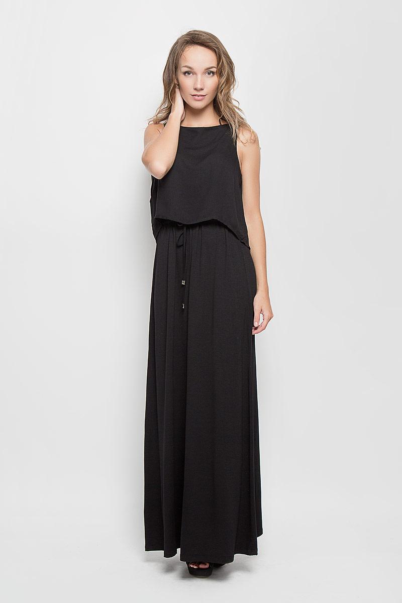 Платье Tom Tailor, цвет: черный. 5019239.00.75_2999. Размер 36 (42)5019239.00.75_2999Стильное платье Tom Tailor подчеркнет ваш уникальный стиль и поможет создать оригинальный женственный образ. Модель, изготовленная из вискозы, очень мягкая, тактильно приятная, не сковывает движения и позволяет коже дышать.Платье-макси с круглым вырезом горловины дополнено на поясе затягивающимся шнурком. Верхняя часть модели дополнена несъемным топом, выполненным из вискозы с добавлением эластана, который оформлен на спинке декоративным разрезом.Такое платье станет стильным дополнением к вашему гардеробу и вы всегда будете в центре внимания!