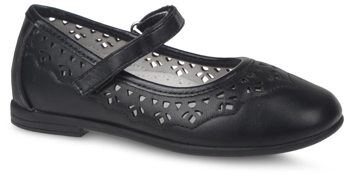 Туфли для девочки Mursu, цвет: черный. 200553. Размер 27200553Очаровательные туфли от фирмы Mursu прекрасно дополнят образ вашей маленькой модницы. Модель выполнена из искусственной кожи и оформлена декоративной перфорацией и прошивкой. Изделие фиксируется на ноге с помощью удобного ремешка с застежкой-липучкой. Внутренняя поверхность, выполненная из натуральной кожи, обеспечивает комфорт и предотвращает натирание. Стелька дополнена небольшим супинатором с перфорацией, который обеспечивает правильное положение стопы ребенка при ходьбе и предотвращает плоскостопие. Подошва изготовлена из легкого и гибкого ТЭП-материала, а ее рифление защищает изделие от скольжения.Стильные и удобные туфли - незаменимая вещь в гардеробе каждой школьницы.