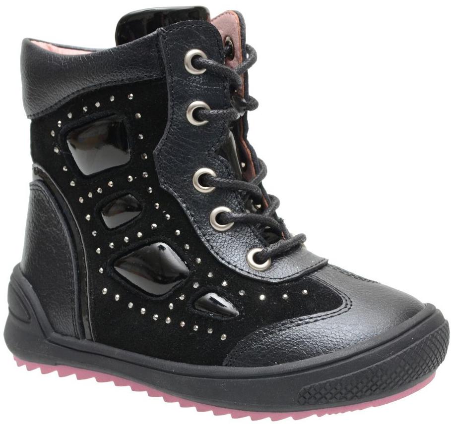 Ботинки для девочки Flamingo, цвет: черный. XB4859. Размер 22XB4859Модные ботинки для девочки от Flamingo, выполненные из натуральной и искусственной кожи, оформлены вставками из лакированной кожи и стразами. Внутренняя поверхность и стелька из байки обеспечат комфорт при движении. Шнуровка надежно зафиксирует модель на ноге. Боковая застежка-молния позволяет легко снимать и надевать модель. Подошва дополнена рифлением.