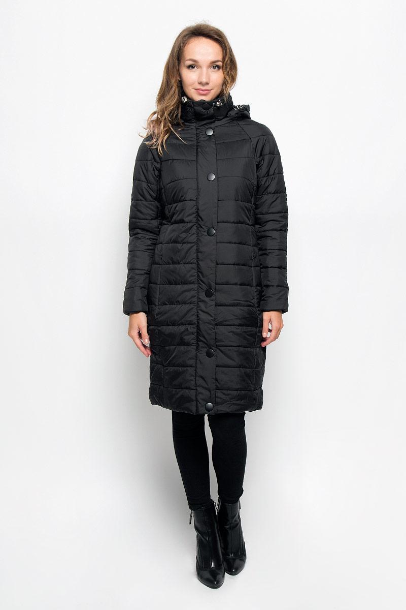 Пальто женское Sela, цвет: черный. Cep-126/668-6313. Размер M (46)Cep-126/668-6313Удобное и теплое женское пальто Sela согреет вас в прохладную погоду и позволит выделиться из толпы. Удлиненная модель с длинными рукавами-реглан, воротником-стойкой и съемным капюшоном выполнена из прочного полиэстера, застегивается на молнию спереди и имеет ветрозащитный клапан на кнопках. Объем капюшона регулируется при помощи шнурка-кулиски со стопперами. Изделие дополнено двумя втачными карманами на молниях. Плотный наполнитель из синтепона и подкладка из полиэстера надежно сохранят тепло, благодаря чему такое пальто защитит вас от ветра и холода. Это модное и комфортное пальто - отличный вариант для прогулок, оно подчеркнет ваш изысканный вкус и поможет создать неповторимый образ.