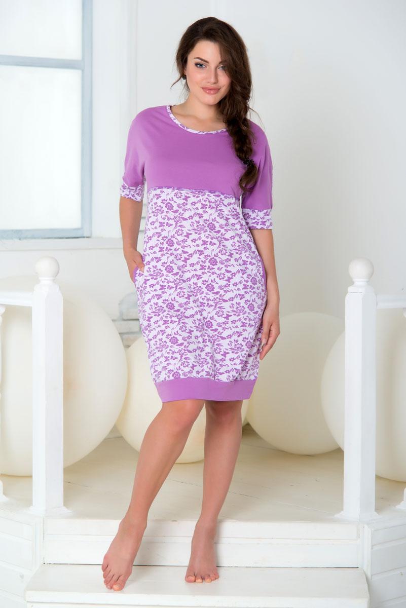 Платье домашнее Santi, цвет: сиреневый. SS16-PL-08. Размер 54/56SS16-PL-08Домашнее платье Santi выполнено из натурального хлопка. Платье-миди скруглым вырезом горловины и короткими цельнокроеными рукавами. Низ рукавов и низ модели дополнены эластичными манжетами. Платье оформлено цветочным принтом.