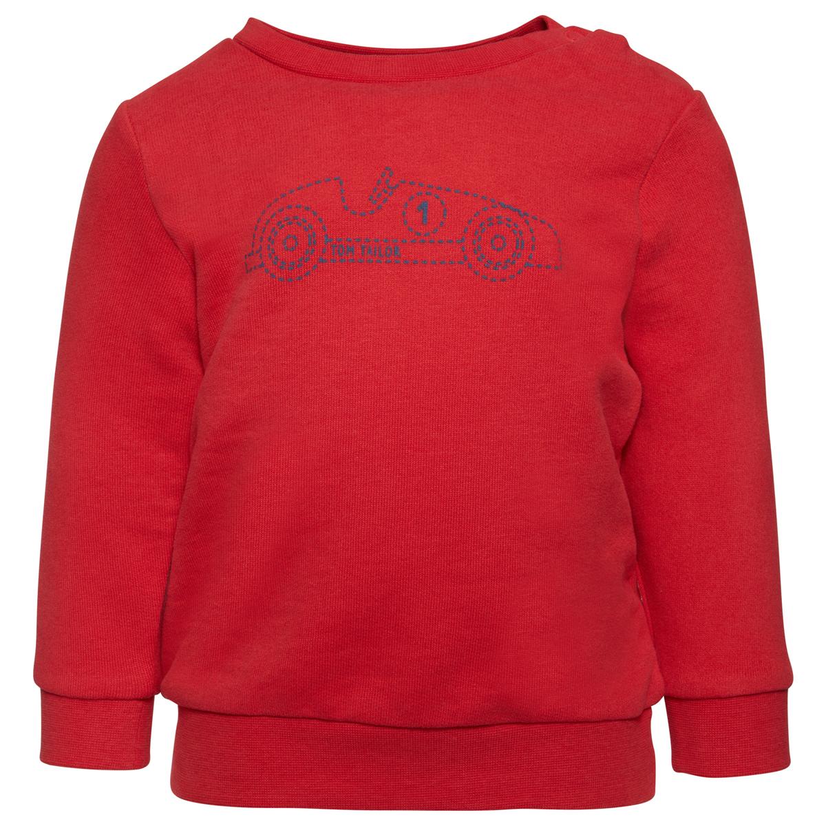 Толстовка детская Tom Tailor, цвет: красный. 2530111.00.22_5516. Размер 862530111.00.22_5516Лонгслив выполнен из высококачественного материала. Модель с круглым вырезом горловины, длинными рукавами оформлена принтовым рисунком. На плече дополнена кнопками.