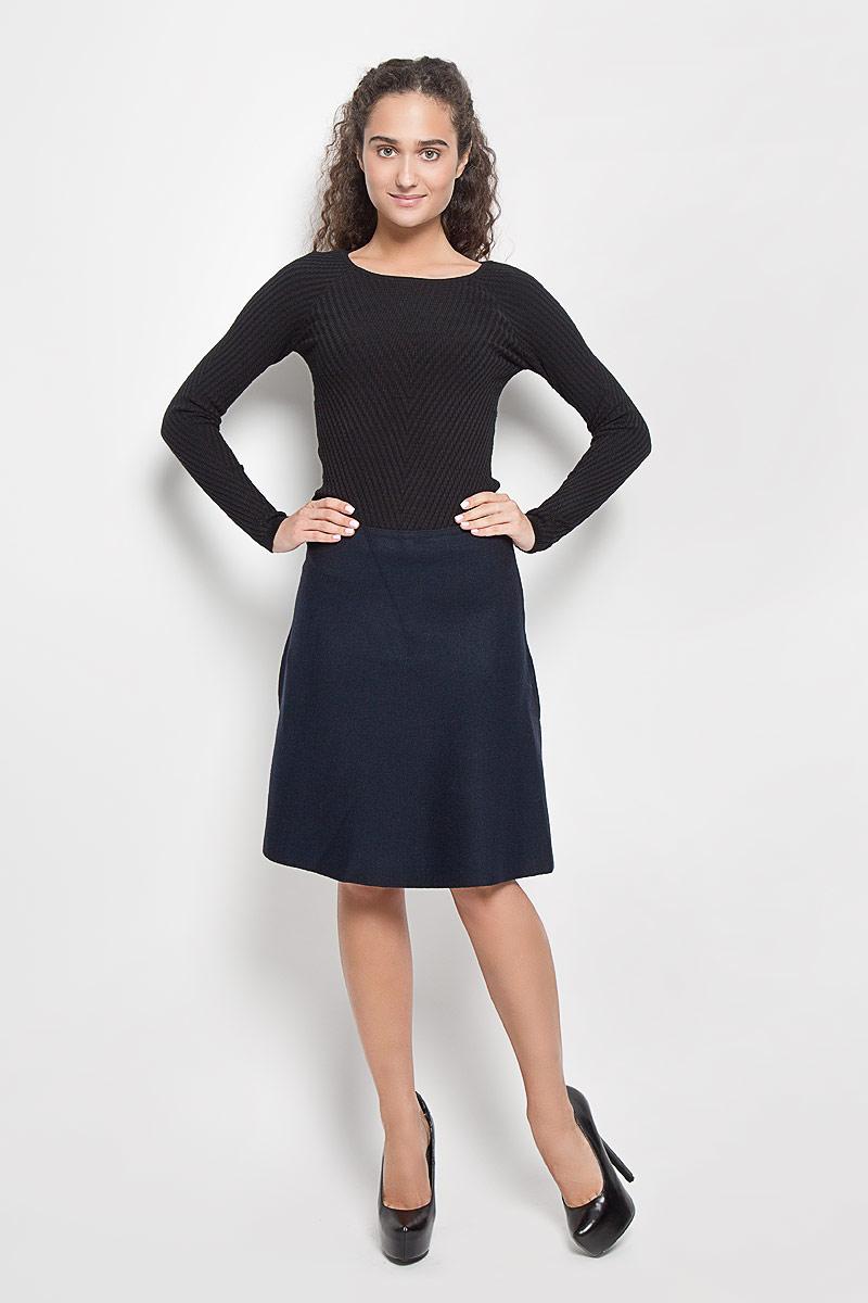 Юбка Sela, цвет: темно-синий. SKsw-118/857-6373. Размер S (44)SKsw-118/857-6373Модная юбка Sela, выполненная из полиэстера, нейлона и шерсти, обеспечит вам комфорт и удобство при носке. Вязанная юбка-миди А-силуэта дополнена на поясе с внутренней стороны эластичной резинкой. Модель не имеет застежек. Модная юбка-миди выгодно освежит и разнообразит ваш гардероб. Создайте женственный образ и подчеркните свою яркую индивидуальность!