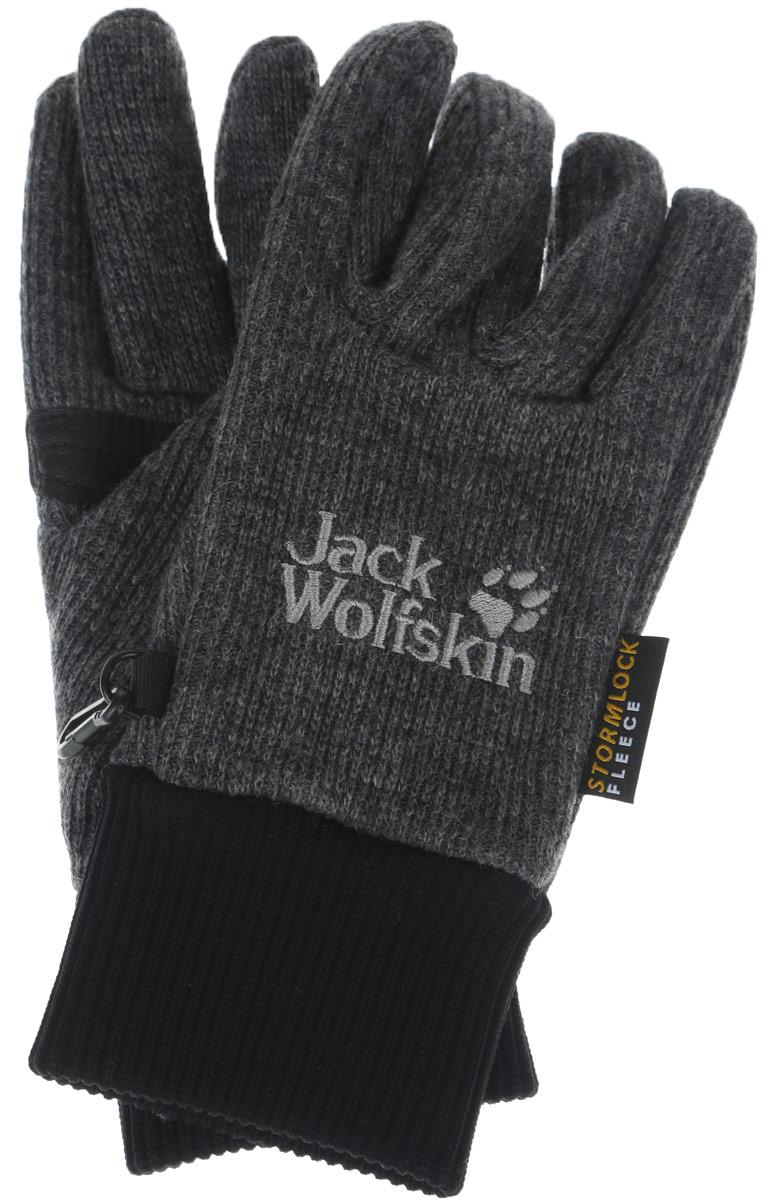 Перчатки Jack Wolfskin Stormlock Knit, цвет: темно-серый. 1900921-6350. Размер XL (26/28)1900921-6350Перчатки Jack Wolfskin предназначены для занятий активными видами спорта и для носки в городе в холодную погоду. Изделие выполнено из прочного высококачественного материала, запястья дополнены эластичной трикотажной резинкой для наилучшего прилегания и защиты от продувания. Перчатки имеют водонепроницаемые вставки на ладонях. Термоподкладка обеспечивает сохранение тепла и быстро выводит влагу с кожи, что делает эти перчатки универсальными для любых зимних занятий.