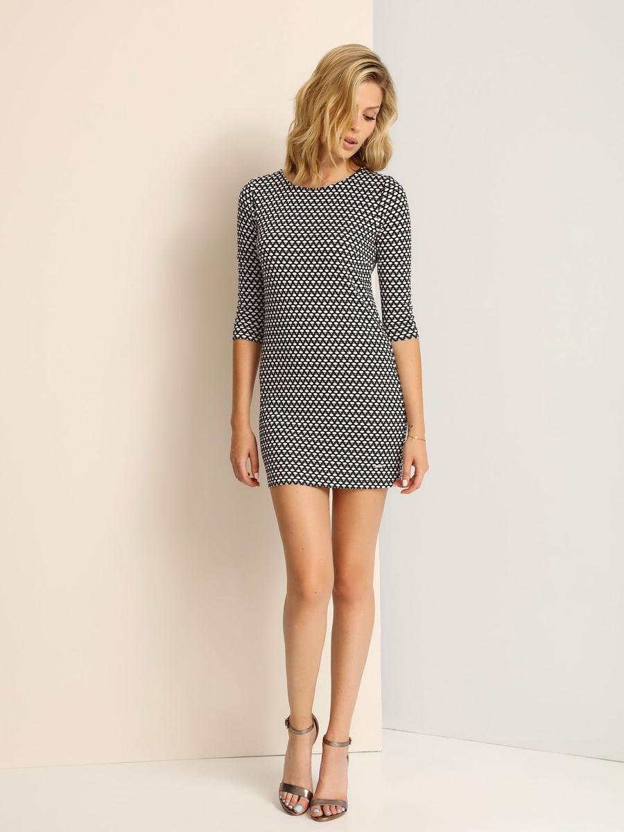 Платье Top Secret, цвет: черный, белый. SSU1694CA. Размер 40 (46)SSU1694CAМодное платье Top Secret, изготовленное из полиэстера и вискозы с добавлением эластана, приятное на ощупь, не сковывает движения и обеспечивает комфорт.Модель-миди с круглым вырезом горловины и рукавами 3/4 оформлено оригинальным принтом.