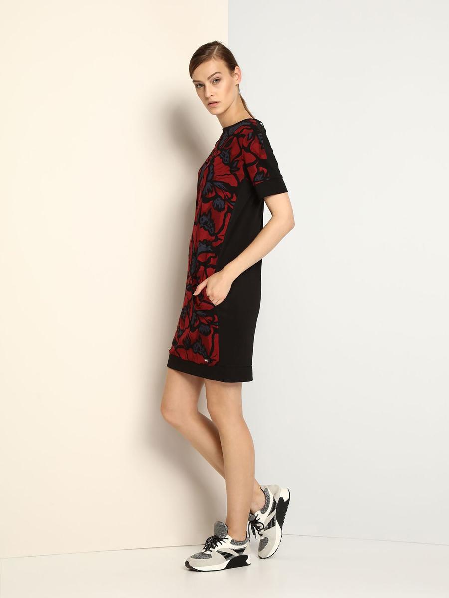 Платье Drywash, цвет: черный, бордовый. DSU0056CE. Размер XS (42)DSU0056CEЭлегантное платье Drywash, изготовленное из сочетания высококачественных материалов, оно мягкое на ощупь, не раздражает кожу и хорошо вентилируется.Модель-миди с круглым вырезом горловины и короткими рукавами застегивается на потайную молнию на спинке. Перед платья оформлен контрастным цветочным принтом и дополнен двумя втачными карманами.