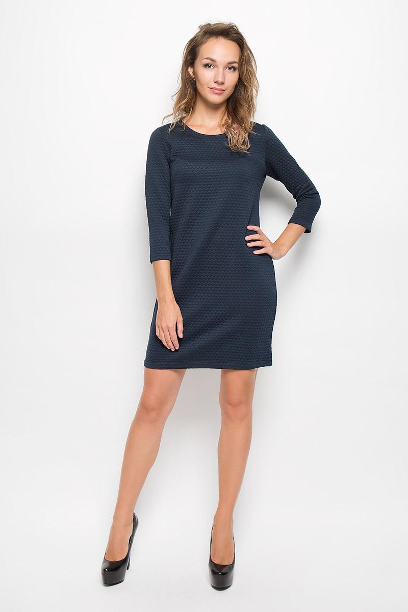 Платье Sela Casual, цвет: темно-синий. DK-117/1079-6342. Размер L (48)DK-117/1079-6342Элегантное платье Sela Casual выполнено из высококачественного плотного трикотажа. Такое платье обеспечит вам комфорт и удобство при носке и непременно вызовет восхищение у окружающих.Модель длины мини с рукавами 3/4 и круглым вырезом горловины выгодно подчеркнет все достоинства вашей фигуры. Изысканное платье создаст обворожительный и неповторимый образ.Это модное и комфортное платье станет превосходным дополнением к вашему гардеробу, оно подарит вам удобство и поможет подчеркнуть ваш вкус и неповторимый стиль.