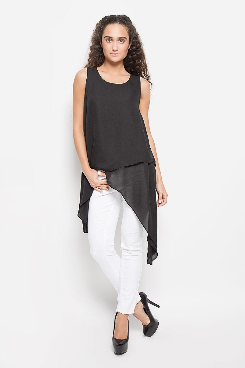 Блузка женская Glamorous, цвет: черный. KA5286. Размер L (48)KA5286_BlackОчаровательная женская блуза Glamorous, выполненная из струящегося материала, подчеркнет ваш уникальный стиль и поможет создать оригинальный женственный образ.Блузка оригинального кроя с круглым вырезом горловины застегивается на пуговицу, расположенную на спинке.Такая блузка послужит замечательным дополнением к вашему гардеробу.