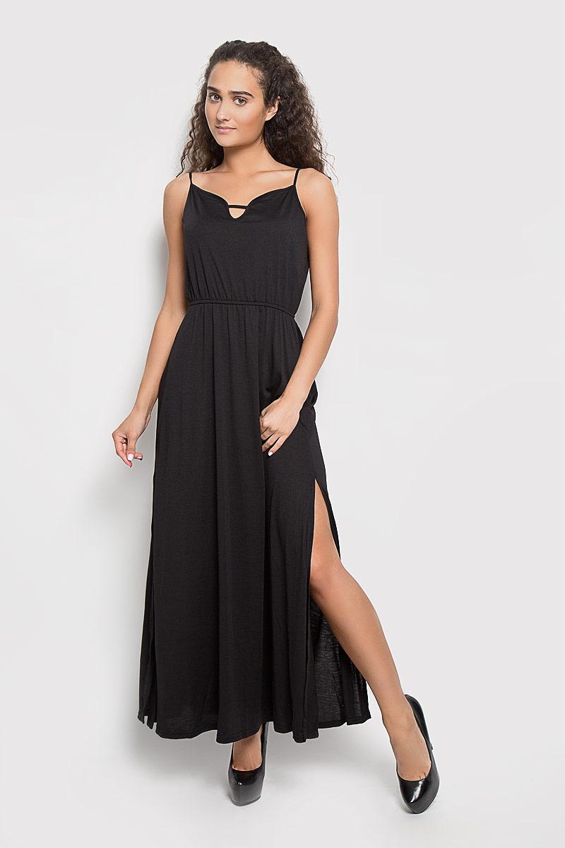 Платье Glamorous, цвет: черный. CK2769. Размер S (44)CK2769_BlackЭлегантное длинное платье Glamorous, выполненное из 100% полиэстера, преподносит все достоинства женской фигуры. Модель с регулируемыми по длине бретелями имеет фигурный вырез горловины. На линии талии платье дополнено эластичной резинкой. По бокам изделие оформлено разрезами.В таком наряде вы безусловно привлечете восхищенные взгляды окружающих. Это платье станет отличным дополнением к вашему гардеробу!
