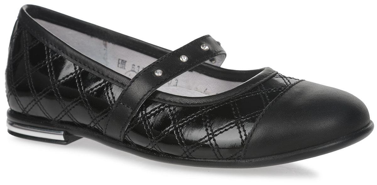 Туфли для девочки Elegami, цвет: черный. 6-612891603. Размер 306-612891603Стильные туфли от Elegami придутся по душе вашей юной моднице! Верх модели изготовлен из искусственного лака, оформленного прострочкой, мыс - из натуральной кожи. Стелька из натуральной кожи дополнена супинатором, который обеспечивает правильное положение ноги ребенка при ходьбе, предотвращает плоскостопие. Ремешок на резинке, декорированный стразами, надежно зафиксирует изделие на ноге. Каблук украшен металлической вставкой.Удобные туфли - незаменимая вещь в коллекции каждой девочки.