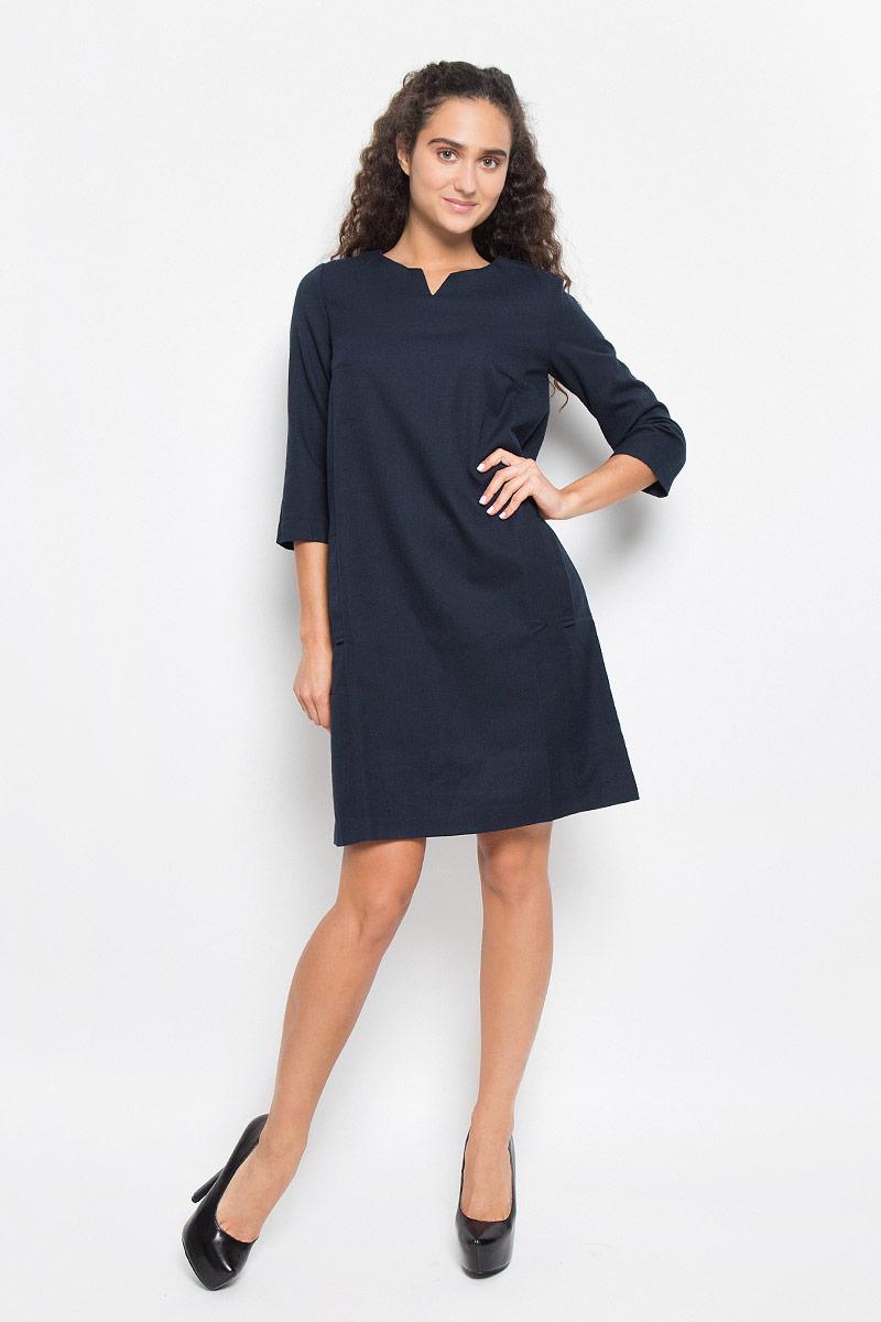 Платье Baon, цвет: темно-синий. B412. Размер XL (50)B412_DARK NAVYЭлегантное платье Baon выполнено из высококачественного плотного трикотажа. Такое платье обеспечит вам комфорт и удобство при носке и непременно вызовет восхищение у окружающих.Модель средней длины с рукавами 3/4 и V-образным вырезом горловины выгодно подчеркнет все достоинства вашей фигуры. Изделие застегивается на застежку-молнию на спинке и имеет два втачных кармана по бокам. Изысканное платье-миди создаст обворожительный и неповторимый образ.Это модное и комфортное платье станет превосходным дополнением к вашему гардеробу, оно подарит вам удобство и поможет подчеркнуть ваш вкус и неповторимый стиль.