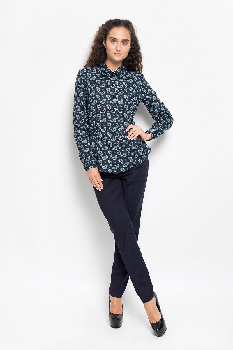 Рубашка женская Baon, цвет: темно-синий. B176527. Размер XL (50)B176527_DARK NAVY PRINTEDОчаровательная женская рубашка Baon, выполненная из натурального хлопка, подчеркнет ваш уникальный стиль и поможет создать оригинальный женственный образ.Модная рубашка с отложным воротником и длинными рукавами застегивается на семь пластиковых пуговиц. Модель оформлена оригинальным принтом. На манжетах предусмотрены застежки-пуговицы. Такая рубашка будет дарить вам комфорт в течение всего дня и послужит замечательным дополнением к вашему гардеробу.