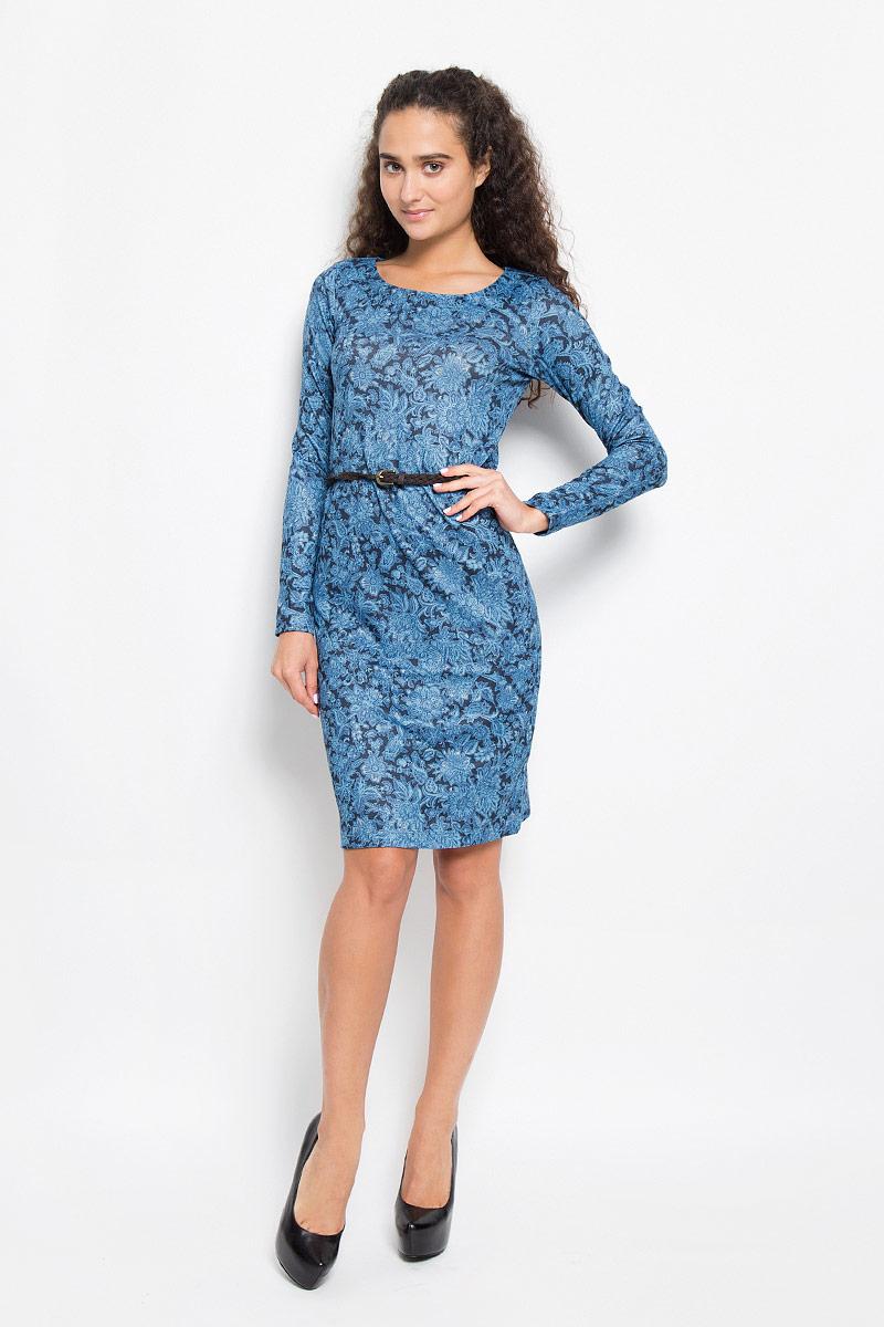 Платье Sela, цвет: темно-синий, голубой. DK-117/1039-6393. Размер L (48)DK-117/1039-6393Модное платье Sela, выполненное из полиэстера с добавлением эластана, оформлено цветочным принтом. Материал изделия мягкий и приятный на ощупь.Платье-миди с круглым вырезом горловины и длинными рукавами придется вам по душе. Модель дополнена плетеным ремнем с металлической пряжкой. Такое платье станет стильным дополнением к вашему гардеробу, оно подарит вам комфорт в течение всего дня!