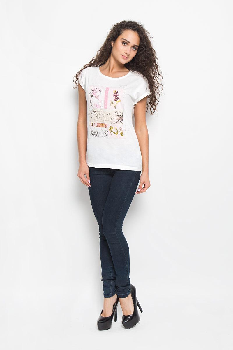 Футболка женская Sela, цвет: молочный. Ts-111/1061-6372. Размер XL (50)Ts-111/1061-6372Стильная женская футболка Sela поможет создать отличный современный образ. Модель, изготовленная из хлопка и полиэстера, очень мягкая, тактильно приятная и не сковывает движения. Футболка с круглым вырезом горловины и короткими рукавами-кимоно оформлена спереди крупным принтом. На рукавах предусмотрены декоративные отвороты. Вырез горловины дополнен трикотажной резинкой.Такая футболка станет стильным дополнением к вашему гардеробу, она подарит вам комфорт в течение всего дня!