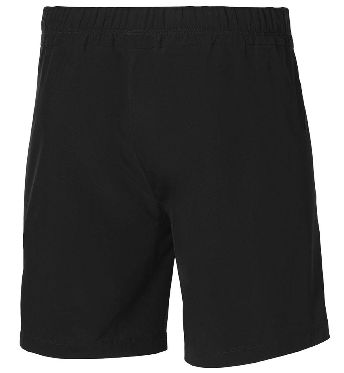 Шорты для фитнеса мужские Asics Woven 7in, цвет: черный. 125136-0904. Размер L (50/52)125136-0904Мужские шорты Asics Woven 7in станут отличным дополнением к вашему спортивному гардеробу. Они выполнены из полиэстера с применением технологии Motion Dry, удобно сидят и превосходно отводят влагу от тела, оставляя кожу сухой. Модель дополнена широкой эластичной резинкой на поясе, двумя боковыми карманами и небольшим внутренним кармашком. Объем талии регулируется при помощи шнурка-кулиски на поясе. Шорты украшены логотипом Asics.Мягкие легкие шорты помогут улучшить спортивные результаты. Идеальны для тренировок, пробежек и прогулок.