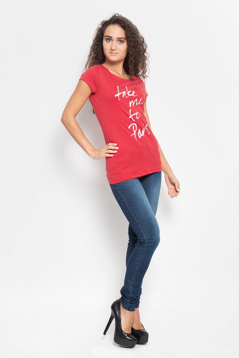 Футболка женская Tom Tailor Denim, цвет: красный. 1035523.01.71_4489. Размер M (46)1035523.01.71_4489Стильная женская футболка Tom Tailor Denim поможет создать отличный современный образ в стиле Casual. Модель, изготовленная из высококачественного материала, очень мягкая, тактильно приятная, не сковывает движения и позволяет коже дышать.Футболка с круглым вырезом горловины и короткими рукавами оформлена спереди буквенным принтом.Такая футболка станет стильным дополнением к вашему гардеробу, она подарит вам комфорт в течение всего дня!