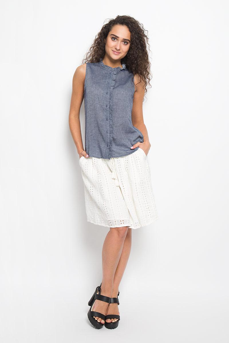 Блузка женская Tom Tailor Denim, цвет: синий джинс. 2032250.00.71_1000. Размер L (48)2032250.00.71_1000Очаровательная женская блуза Tom Tailor, выполненная из высококачественного хлопка, подчеркнет ваш уникальный стиль и поможет создать оригинальный женственный образ.Модная блузка выглядит очень стильно. Модель оформлена пуговицами-застежками и кантом. Такая блузка будет дарить вам комфорт в течение всего дня и послужит замечательным дополнением к вашему гардеробу.