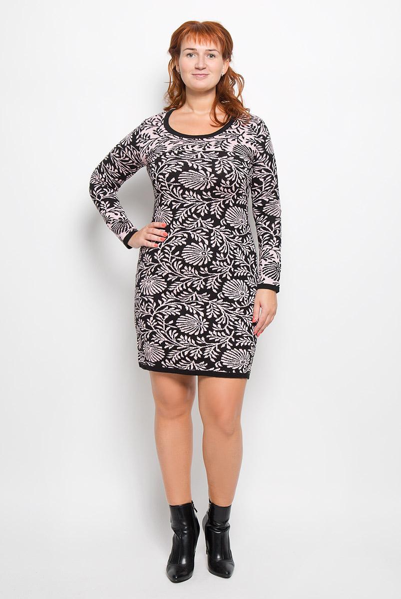 Платье Milana Style, цвет: черный, розовый. 1348. Размер XXXXL (56)1348Элегантное платье Milana Style выполнено из высококачественной комбинированной пряжи. Такое платье обеспечит вам комфорт и удобство при носке и непременно вызовет восхищение у окружающих. Благодаря содержанию ПАН, платье обладает высокой износостойкостью и отлично сидит по фигуре. Платье-миди с длинными рукавами и круглым вырезом горловины выгодно подчеркнет все достоинства вашей фигуры. Платье оформлено оригинальным цветочным принтом. Изысканное платье-миди создаст обворожительный и неповторимый образ.Это модное и комфортное платье станет превосходным дополнением к вашему гардеробу, оно подарит вам удобство и поможет подчеркнуть ваш вкус и неповторимый стиль.