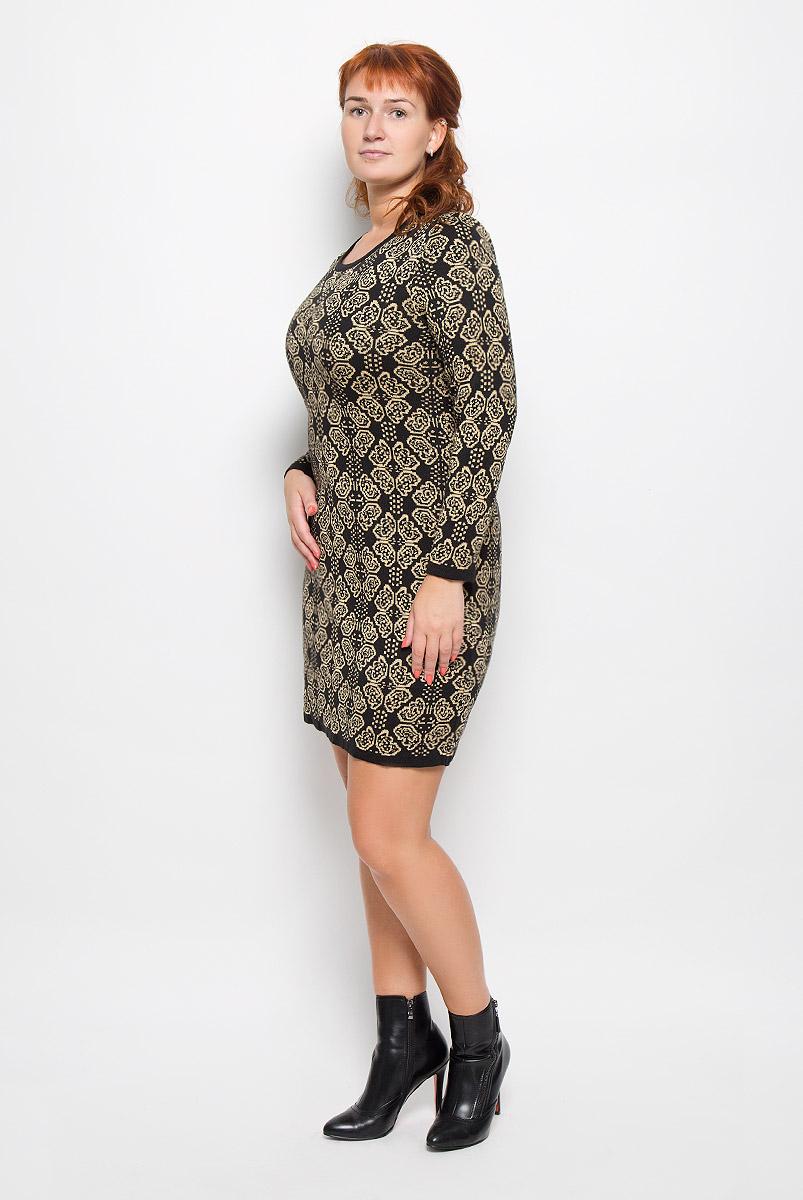 Платье Milana Style, цвет: черный, бежевый. 1356. Размер 6XL (60)1356Элегантное платье Milana Style выполнено из высококачественной комбинированной пряжи. Такое платье обеспечит вам комфорт и удобство при носке и непременно вызовет восхищение у окружающих. Благодаря содержанию ПАН, платье обладает высокой износостойкостью и отлично сидит по фигуре. Платье-миди с длинными рукавами и круглым вырезом горловины выгодно подчеркнет все достоинства вашей фигуры. Платье оформлено оригинальным орнаментом. Изысканное платье-миди создаст обворожительный и неповторимый образ.Это модное и комфортное платье станет превосходным дополнением к вашему гардеробу, оно подарит вам удобство и поможет подчеркнуть ваш вкус и неповторимый стиль.