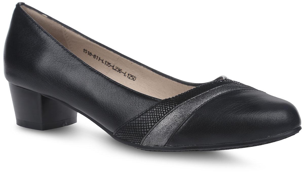 Туфли женские Sinta Gamma, цвет: черный, серебряный. 1518-811-L135-L236-L125D. Размер 351518-811-L135-L236-L125DСтильные женские туфли от Sinta Gamma покорят вас с первого взгляда.Модель с вытянутым закругленным мысом выполнена из натуральной кожи. Стелька и внутренняя поверхность из натуральной кожи обеспечивают комфорт при ходьбе, предотвращают натирание. У изделия умеренной высоты толстый каблук. Мыс декорирован вставками из блестящей кожи.Стильные туфли подчеркнут вашу яркую индивидуальность, позволят выделиться среди окружающих.