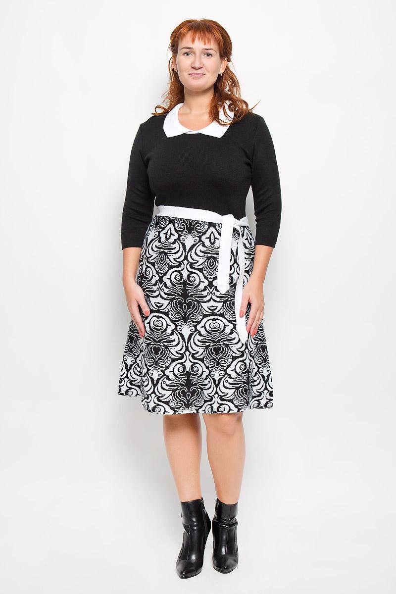 Платье Milana Style, цвет: черный, белый. 1350. Размер M (46)1350Элегантное платье Milana Style выполнено из высококачественной комбинированной пряжи. Такое платье обеспечит вам комфорт и удобство при носке и непременно вызовет восхищение у окружающих. Благодаря содержанию ПАН, платье обладает высокой износостойкостью и отлично сидит по фигуре. Платье-миди с рукавами длинной 3/4 и отложным воротником выгодно подчеркнет все достоинства вашей фигуры. Юбка модели оформлена оригинальным принтом. Платье дополнено поясом. Изысканное платье-миди создаст обворожительный и неповторимый образ.Это модное и комфортное платье станет превосходным дополнением к вашему гардеробу, оно подарит вам удобство и поможет подчеркнуть ваш вкус и неповторимый стиль.