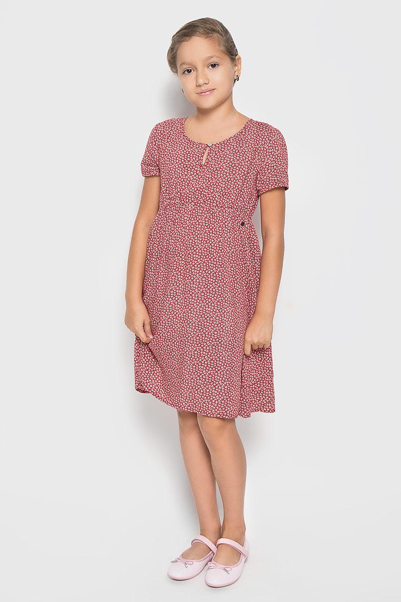 Платье для девочки Finn Flare Kids, цвет: красный. KS16-71011J. Размер 134, 8-9 летKS16-71011JПлатье для девочки Finn Flare Kids идеально подойдет вашей маленькой принцессе. Изготовленное из 100% вискозы, оно необычайно мягкое и приятное на ощупь, не сковывает движения малышки и позволяет коже дышать, не раздражает даже самую нежную и чувствительную кожу ребенка, обеспечивая ему наибольший комфорт. Платье с короткими рукавами и круглым вырезом горловины спереди застегивается на пуговку. По линии талии модель дополнена резинкой.В таком платьишке ваша малышка будет чувствовать себя уютно и комфортно и всегда будет в центре внимания!