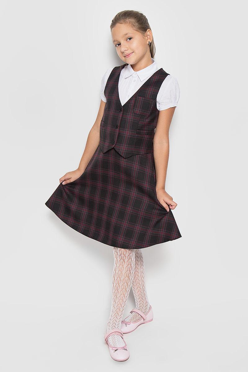 Юбка для девочки BTC, цвет: черный, бордовый. 12.017484. Размер 34-12812.017484Стильная юбка для девочки BTC идеально подойдет вашей маленькой принцессе. Изготовленная из полиэстра с добавлением шерсти, она необычайно мягкая и приятная на ощупь, не сковывает движения малышки и позволяет коже дышать, не раздражает даже самую нежную и чувствительную кожу ребенка, обеспечивая ему наибольший комфорт. Юбка на талии имеет эластичную резинку, благодаря чему она не сдавливает животик ребенка и не сползает. Застегивается на молнию. С внутренней стороны пояс регулируется резинкой на пуговице, также имеются шлевки для ремня. Оригинальный современный дизайн и модная расцветка делают эту юбку модным и стильным предметом детского гардероба. В ней ваша малышка всегда будет в центре внимания!