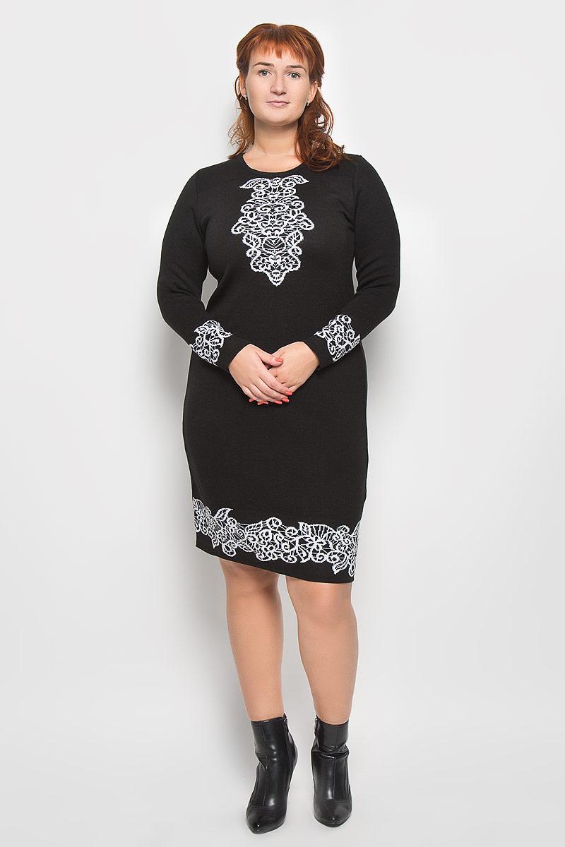 Платье Milana Style, цвет: черный, белый. 34408. Размер S (44)34408Стильное платье Milana Style подчеркнет ваш уникальный стиль и поможет создать оригинальный женственный образ. Модель, изготовленная из ПАН-волокна с добавлением шерсти, приятная на ощупь, не сковывает движения и обеспечивает комфорт.Платье-миди с круглым вырезом горловины и длинными рукавами придется вам по душе. Нижняя часть модели, манжеты рукавов и область выреза оформлена вязаным узором.Такое платье станет стильным дополнением к вашему гардеробу.