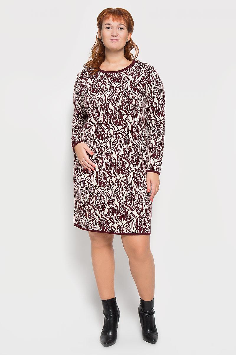 Платье Milana Style, цвет: бордовый, бежевый. 937. Размер XXL (52)937Яркое вязаное платье Milana Style поможет создать оригинальный женственный образ. Благодаря составу, в который входят шерсть и акрил, платье очень приятное на ощупь, не сковывает движений, обеспечивая комфорт.Модель с круглым вырезом горловины и длинными рукавами украшена оригинальным цветочным орнаментом. Вырез горловины, низ рукавов и низ изделия связаны резинкой.Такое платье станет модным и стильным дополнением к вашему гардеробу!