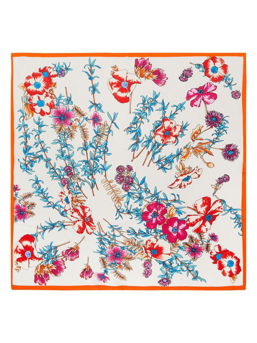 Платок женский Eleganzza, цвет: бежевый, голубой, оранжевый. SS03-7859. Размер 53 см х 53 смSS03-7859Женский платок Eleganzza, изготовленный из шелка, мягкий и приятный на ощупь.Изделие оформлено цветочным принтом.