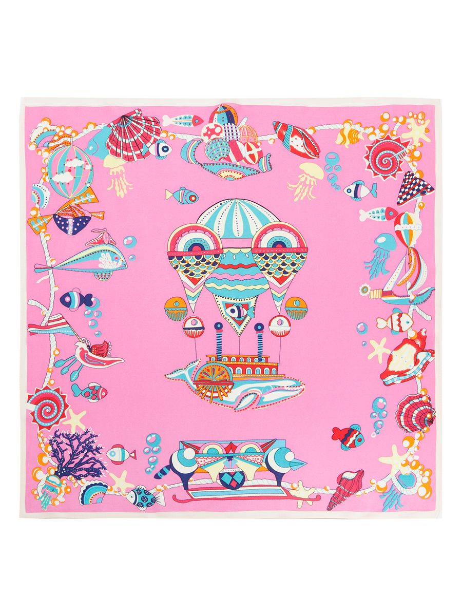 Платок женский Eleganzza, цвет: розовый, мультиколор. SS03-7860. Размер 53 см х 53 смSS03-7860Женский платок Eleganzza, изготовленный из шелка, мягкий и приятный на ощупь.Изделие оформлено принтом с морской тематикой.