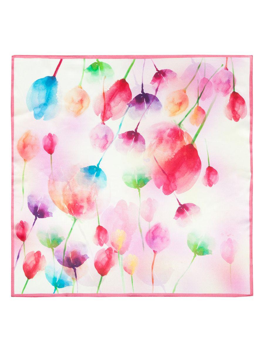 Платок женский Eleganzza, цвет: бежевый, малиновый. SS03-7828. Размер 55 см х 55 смSS03-7828Женский платок Eleganzza, изготовленный из шелка, мягкий и приятный на ощупь.Изделие оформлено цветочным принтом.