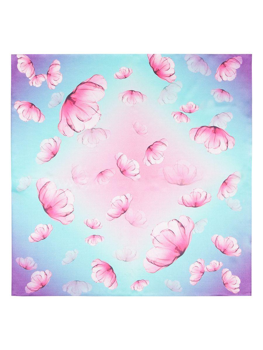 Платок женский Eleganzza, цвет: голубой, фиолетовый, розовый. SS03-7850. Размер 55х55SS03-7850Платок от Labbra изготовлен из шелка и оформлен ярким принтом. Края изделия обработаны ручной подгибкой.