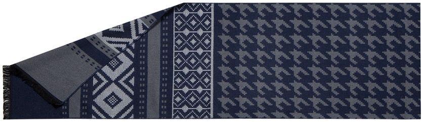 Шарф мужской Labbra, цвет: темно-синий, серый, белый. LG34-571. Размер 30 см х 180 смLG34-571Мужской шарф Labbra, изготовленный из шелка и вискозы, мягкий и приятный на ощупь. Изделие оформлено оригинальным принтом. По короткому краю модель оформлена бахромой.