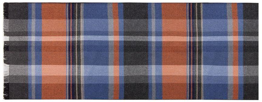 Шарф мужской Labbra, цвет: оранжевый, голубой, темно-серый. LJG34-348. Размер 30 см х 180 смLJG34-348Мужской шарф Labbra, изготовленный из шелка и вискозы, мягкий и приятный на ощупь. Изделие оформлено оригинальным принтом. По короткому краю модель оформлена бахромой.