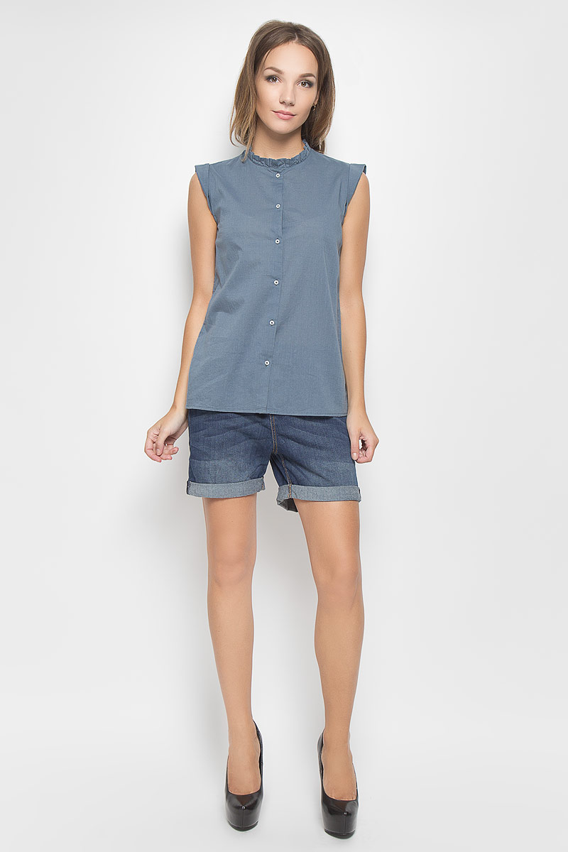 Блузка женская Tom Tailor Denim, цвет: серо-синий. 2031905.00.71_6977. Размер M (46)2031905.00.71_6977Стильная женская блуза Tom Tailor Denim, выполненная из натурального хлопка, мягкая и приятная на ощупь. Модель подчеркнет ваш стиль и поможет создать оригинальный женственный образ.Блузка прямого кроя с короткими рукавами-крылышками и круглым вырезом горловины застегивается на пуговицы по всей длине. Вырез горловины оформлен оборкой. Такая блузка будет дарить вам комфорт в течение всего дня и послужит замечательным дополнением к вашему гардеробу.
