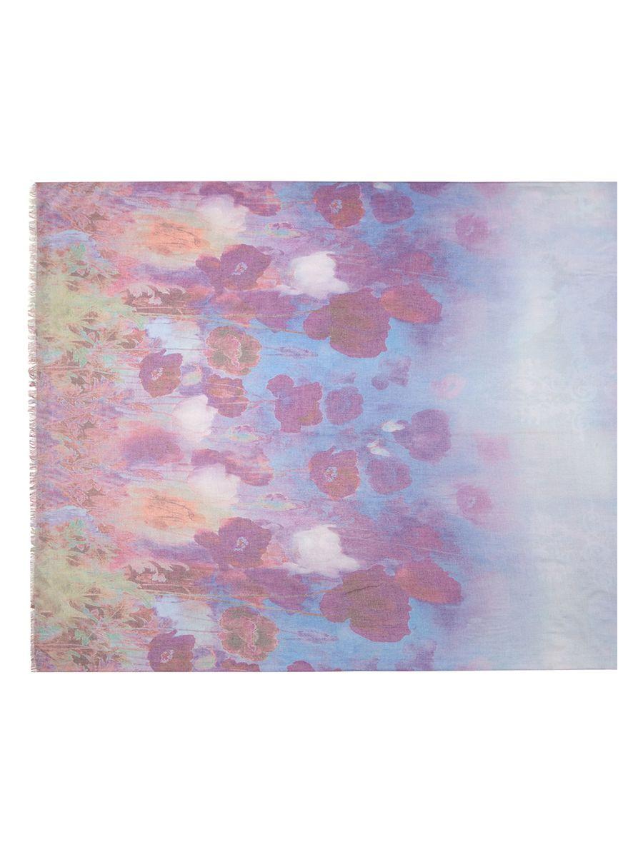 Палантин Labbra, цвет: фиолетовый, мультицвет. LFA60-531. Размер 100 см х 180 смLFA60-531Палантин от Labbra изготовлен из шерсти и сои, оформлен ярким принтом. Изделие с машинной подгибкой, края декорированы бахромой.