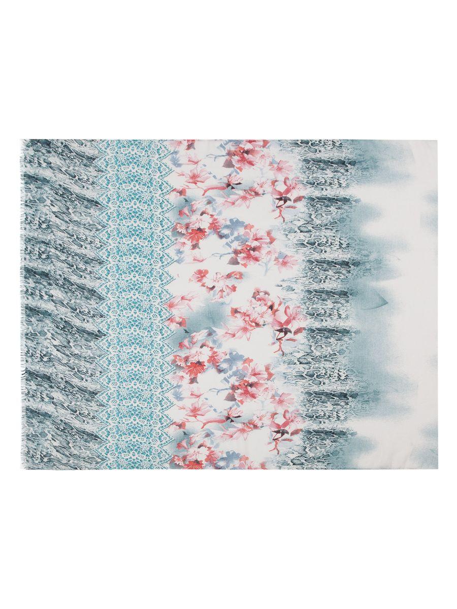Палантин Labbra, цвет: светло-серый, бирюзовый, красный. LG33-568. Размер 90 см х 180 смLG33-568Палантин от Labbra изготовлен из вискозы с добавлением шерсти и оформлен ярким принтом. Изделие с машинной подгибкой, края декорированы бахромой.