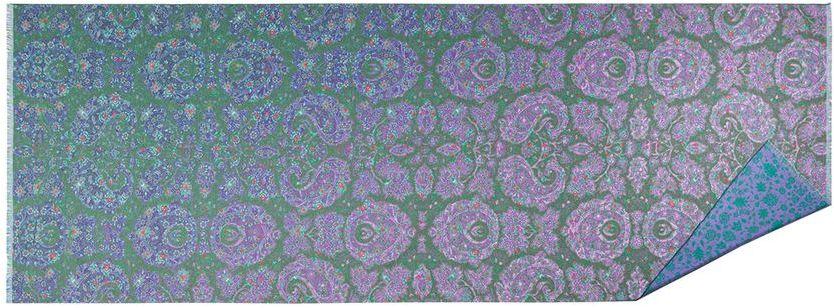 Палантин Eleganzza, цвет: зеленый, фиолетовый, синий. FA34-0625. Размер 65 см х 180 смFA34-0625Стильный палантин Eleganzza, изготовленный из шелка и вискозы, мягкий и приятный на ощупь.Изделие оформлено цветочным принтом. По короткому краю модель оформлена бахромой.