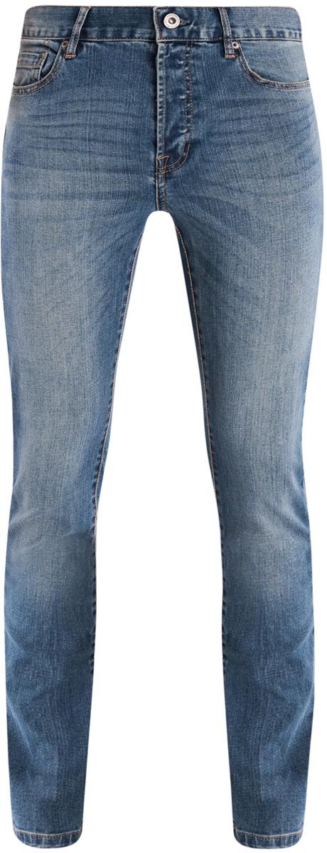 Джинсы мужские oodji Basic, цвет: синий. 6B120038M/45807/7500W. Размер 31-32 (48-32)6B120038M/45807/7500WСтильные мужские джинсы oodji Basic изготовлены из хлопка с добавлением полиэстера и полиуретана.Джинсы-слим средней посадки застегиваются на пуговицы. На поясе имеются шлевки для ремня. Спереди модель дополнена двумя втачными карманами и одним небольшим накладным кармашком, а сзади - двумя накладными карманами. Модель оформлена эффектом потертости и перманентными складками.