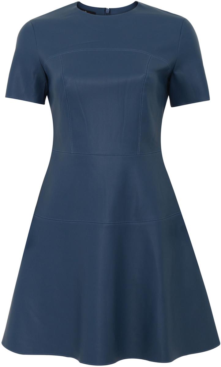 Платье oodji Ultra, цвет: темно-синий. 11900211/43578/7400N. Размер 42 (48-170)11900211/43578/7400NСтильное женское платье выполнено из искусственной кожи. Модель А-силуэта с короткими рукавами и круглым вырезом горловины.